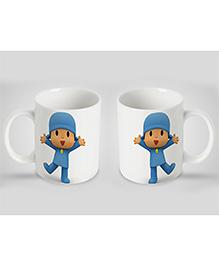 Stybuzz Kids Ceramic Mug Cartoon Print White & Blue 300 Ml - Single Piece