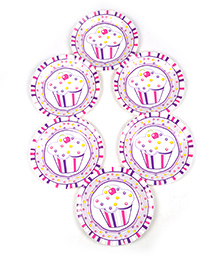 Funcart Sweet Treat Cupcake Pink Theme Disposable Paper Plate - Pack Of 6 - 797929