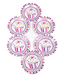 Funcart Sweet Treat Cupcake Pink Theme Disposable Paper Plate - Pack Of 6