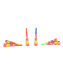 Funcart Smiley Theme Party Horns - Pack Of 6