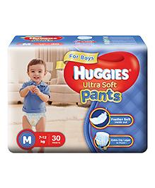 Huggies Ultra Soft Pants Medium Size Premium Diapers For Boys - 30 Pieces