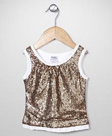 Babyhug Sleeveless Sequin Top - White & Gold