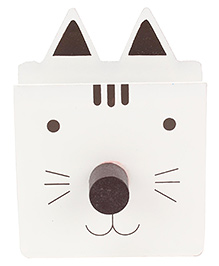 Wooden Pen Stand Kitty Design - White