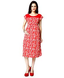 Nine Short Sleeves Floral Print Maternity Nursing Dress - Red