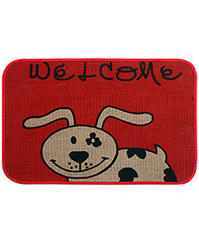 Saral Home Premium Quality Jute Mat Cow Design - Red