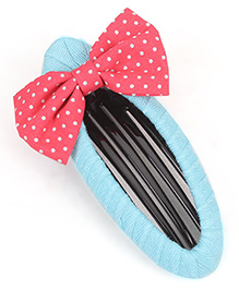 De Berry Dot Print Bow Hair Clip - Blue