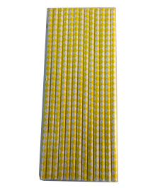 Funcart Paper Straws Diamond Print Yellow - 25 Pieces