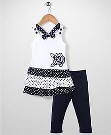 Young Hearts Flower Print Top & Leggings Set - White & Black
