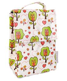 Sugar Booger Owl Print Classic Lunch Sack  - White