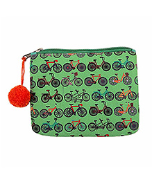 The Crazy Me Cycle Pattern Make Up Or Coin Pouch - Green
