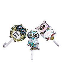 Little Nests Hooked Onto Owls Wall Hooks - Pack Of 3