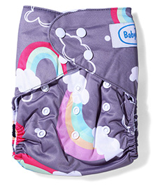 Babyhug Free Size Reusable Printed Cloth Diaper With Insert - Grey