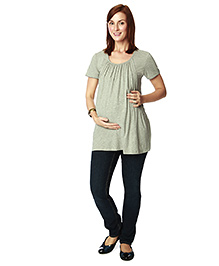Nine Maternity Half Sleeves Nursing Top - Green