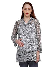 Oxolloxo Full Sleeves Waves Print Maternity Tunic - Black & White