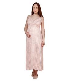 Oxolloxo Singlet Maternity Floral Print Maxi Dress - Peach