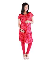 Morph Maternity Jaipuri Cotton Printed Nursing Kameez - Red