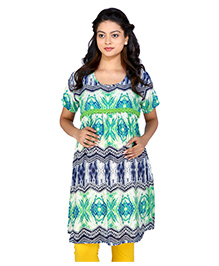 MomToBe Half Sleeves Maternity Kurti Abstract Print - Green Blue