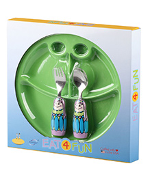 Eat4Fun Sectioned Plate Fairy Princess Spoon And Fork Set - Blue And Green