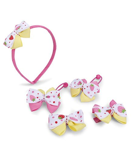 Anaira Hairband Hair Clip And Hair Rubber Band Set - Pink Yellow