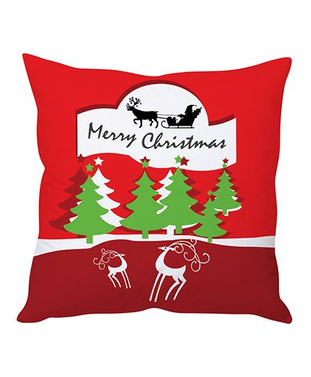 StyBuzz Merry Christmas Cushion Cover - Red