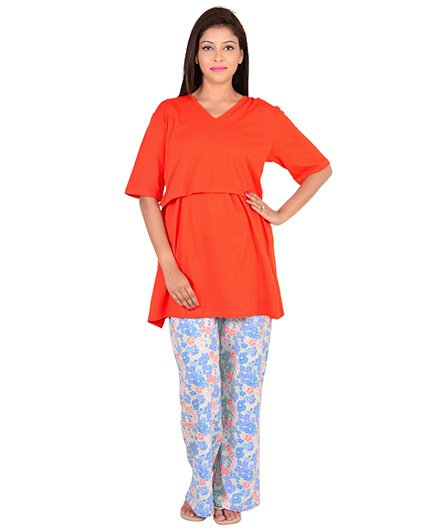 9teenAGAIN Half Sleeves Maternity Nursing Top And Pajama - Orange Blue - 1518331