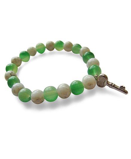 Milonee Translucent Beads Bracelet With Key Charm - White & Green