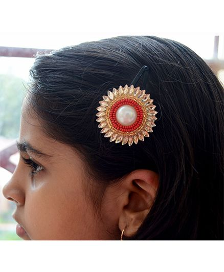 Pretty Ponytails Ethnic Beads Pearl Zardozi Flower Hair Clip Red - Red And Gold