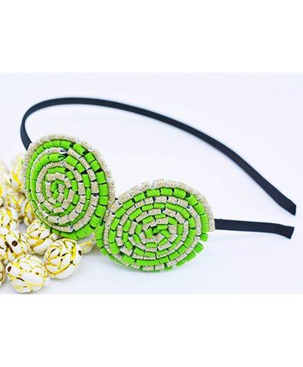 Little Tresses Partywear Double Puff Flower Hair Band - Parrot Green