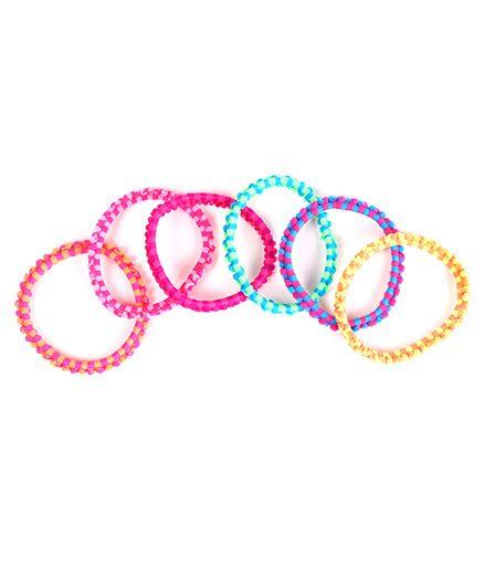 Babyhug Hair Rubber Band Stripe Design Set Of 6 - Multicolor