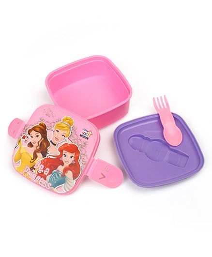 Disney Princess Lunch Box With 2 In 1 Fork & Spoon - Pink