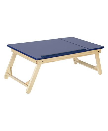 NHR Multipurpose Foldable Wooden Laptop Table With Side Mouse Table - Blue