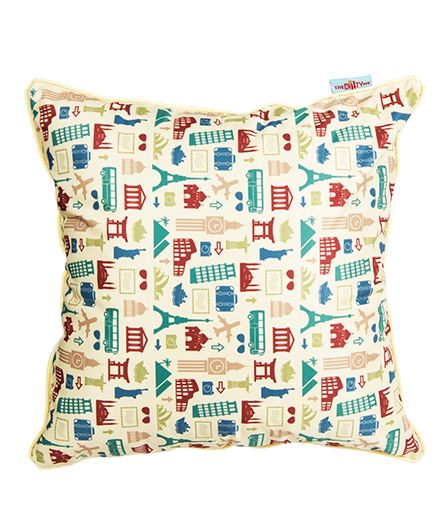 The Crazy Me Cushion Cover Retro Travel Print - Off White