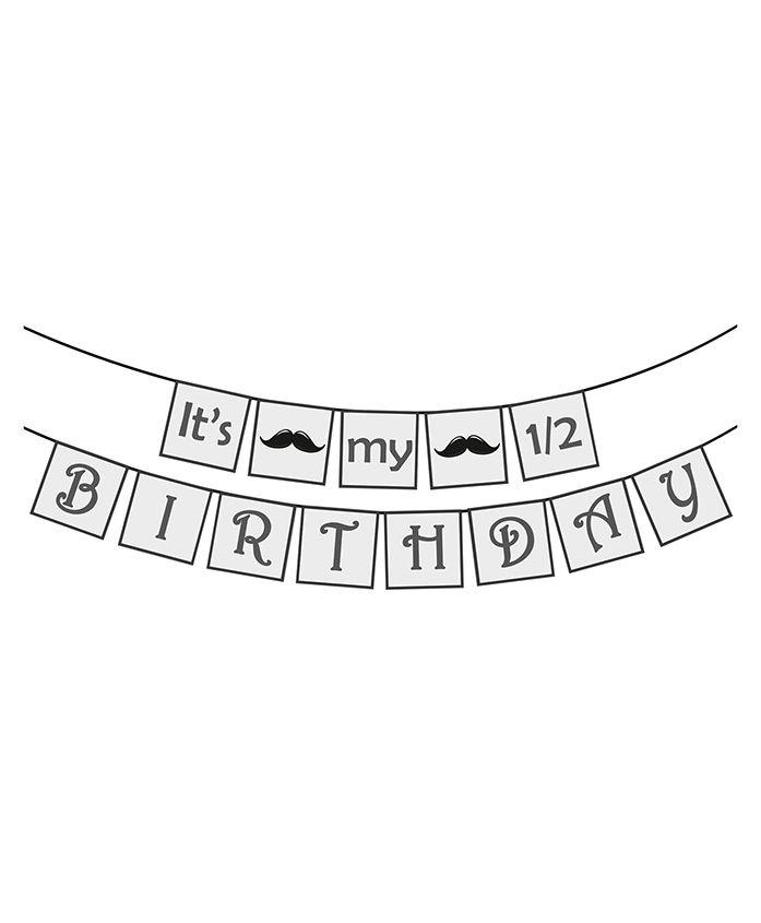 Party Propz Half Birthday Party Decoration Banner - White & Black