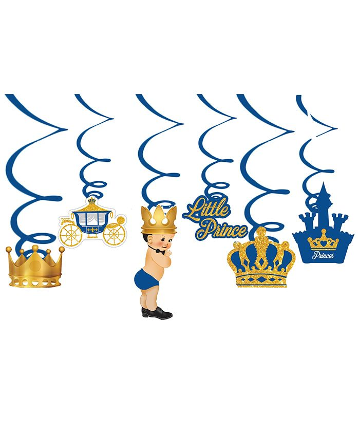 Party Propz Prince Theme Swirls Blue Golden - Pack Of 6