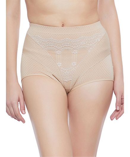 Clovia Tummy Tucking High Waist Brief - Beige - 2175739