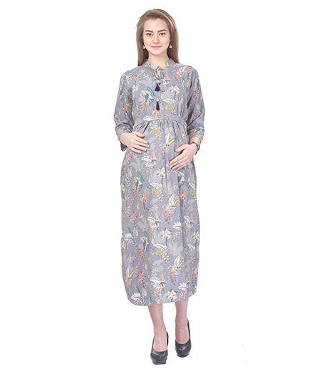 MomToBe Three Fourth Sleeves Maternity Dress Floral Print - Grey