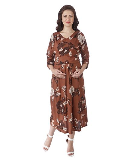 MomToBe Three Fourth Sleeves Maternity Dress Floral Print - Brown