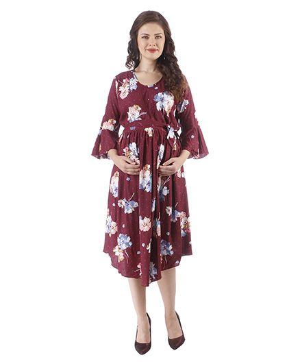 MomToBe Three Fourth Sleeves Maternity Dress - Maroon