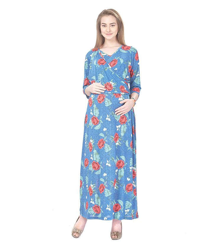 MomToBe Three Fourth Sleeves Maternity Dress Rose Flower Print - Blue