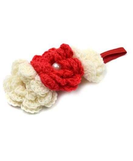 Magic Needles 3 Crochet Flower Elastic Headband - Red & White