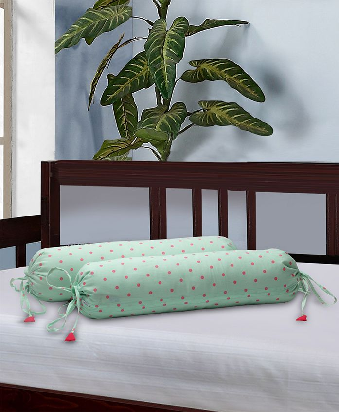 The Baby Atelier Bolster Cover With Fillers Polka Dot Print - Green & Red