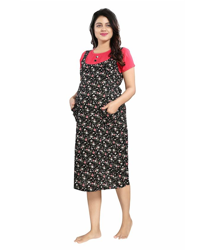 Mamma's Maternity Short Sleeves Rayon Dress Floral Print - Black Red