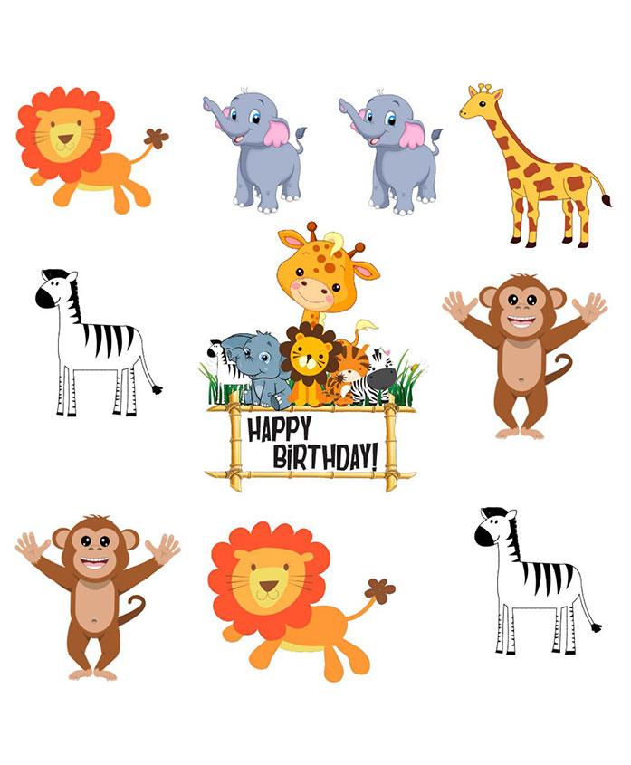 Party Propz Jungle Theme Cut Outs Multicolour - 10 Pieces