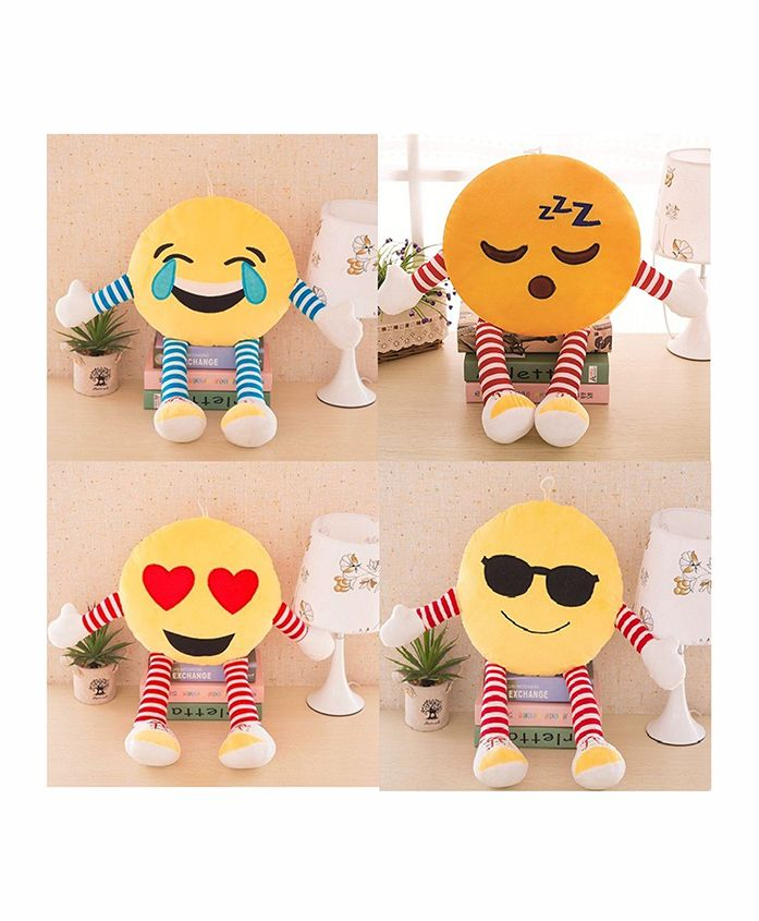 Frantic Smiley Plush Cushion With Stripe Hands And Legs Pack Of 4 - Yellow - 2297382