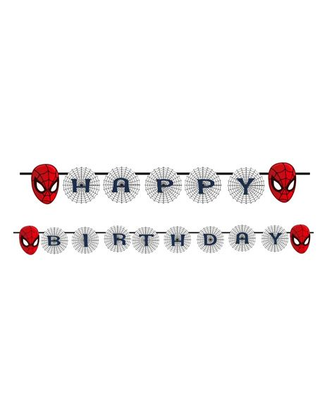 Party Propz Spiderman Themed Happy Birthday Banner - Red & Grey