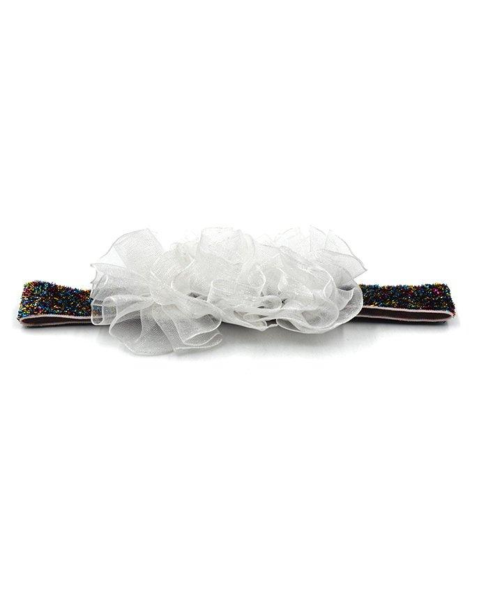 Magic Needles Netted Floral Motif Headband - White
