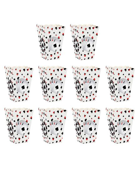 Party Propz Casino Themed Popcorn Box White - Pack Of 10