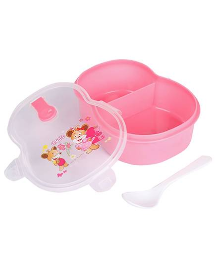 Lunch Box With Spoon Animal Cartoon And Floral Print - Pink