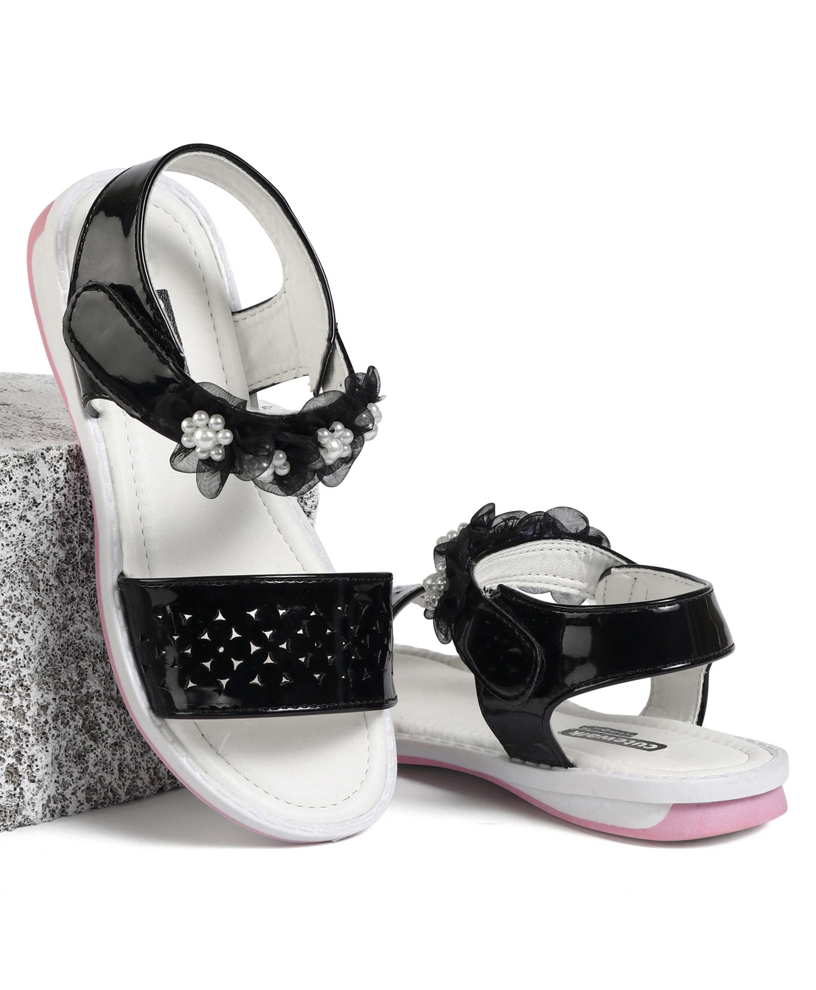 0be39a84421 Cute Walk by Babyhug Party Wear Sandals Floral Motifs - Black White Image